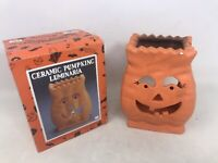 VTG Halloween Ceramic Pumpkin Luminaria Votive Candle 1992 Fabri-Centers