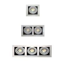 New 1,2 or 3 Way GU10 Spotlight Ceiling Downlight Tilt Chrome and Black Finish