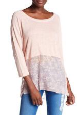 Monoreno Womens Shirt New W/ Tags 3/4 Sleeve Length Pink Lace Medium