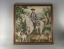 TAPISSERIE POINT D'AUBUSSON, encadrée, cavaliers, chevaux, chiens, 43 cm