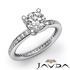 Excellent Pave Set Round Diamond Engagement Ring GIA F VS2 14k White Gold 2ct