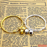 Fashions New Gift 2pcs Baby Kid Bell Bangle Bracelet Gold And Silver