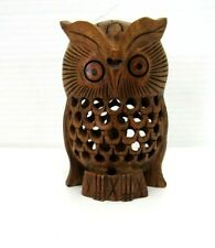 """Carved 4"""" Wooden Owl with Baby Inside, Home Decor, Figurine"""