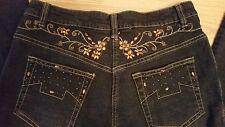 SCRIPT Black Jeans Denim Amber Rhinestones Beading Gold Stitching Sz 10 31x33