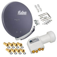 FUBA DAA 850 Alu SAT 4 Teilnehmer 85cm Schüssel + Premium 4K Quad HB LNB HD