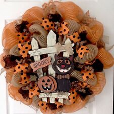 Spooky Halloween Cat With Jack O'Lantern Sitting By Fence Deco Mesh Wreath