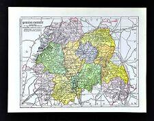 1900 Ireland Map - Queens County - Maryborough Abbeyleix Durrow Mountmellick