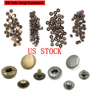50 Sets 10mm Metal Snap Fasteners Press Studs Sewing Buttons for Craft Jacket