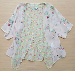 NEXT Girls Peach Kimono Wrap Flowered Blouse 3/4 Sleeve 100% Polyester 7 Years