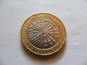 """Guy Fawks  £2  Coin  2005  Minting Error On """"R"""" Wording Of  Remember &  November"""