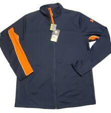 New Under Armour UA Men's medium Locker Full Zip Pullover jacket Navy/Orange