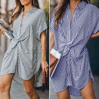 ZANZEA Women Down Office Dress Mini Short Sleeve Asymmetric Hem High Low Dress