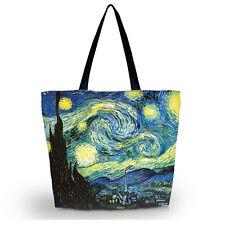 Van Gogh Paint Women Shopping Tote Floding Shoulder Handbag Travel Bag Satchel