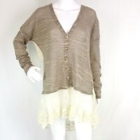 Areve Womens sz L Brown Button Front Sweater Ivory Lace Back & Hem V Neck