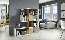 Zarah Bookcase Zig Zag White & Oak 4 Tier Display Unit Abstract Melamine