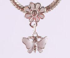 2pcs silver butterfly pendant daisy painted European charm bead bracelet #A639