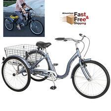 "3 Wheel Bicycle Bike Schwinn Adult Tricycle 24"" Basket Beach Cruiser Slate, Blue"