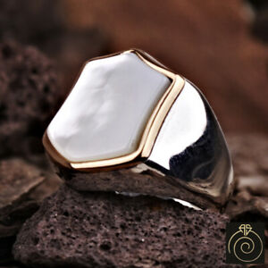 Mens Natural White Stone Mother Of Pearl Silver Shield Ring Heraldic Cool Gift