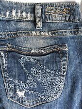Silver Tuesday 31/33 Boot Embroidered Distressed Jeans Inseam  33+ Denim Blue