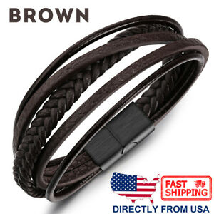 Men's Stainless Steel and Braided Leather Strip Bracelet