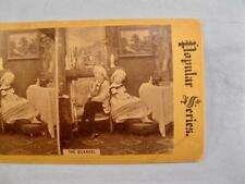 Stereoview Popular Series The Quarrel Young Girl And Boy Seated Back To Back (O)
