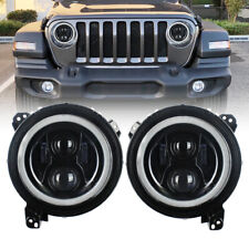 Pair 9 Inch LED Headlights w/Halo Angle Eye DRL Hi/Low Beam for Jeep Wrangler JL