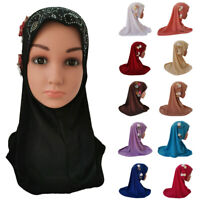 Kids Girls Scarf Hijab Hats Muslim Arab Shawls Headwear Headscarf Caps Amira Hot
