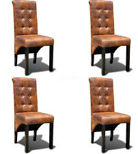Dining Chair Set 4 Pcs Furniture Backrest Seat Leather Chair Brown Suede Look