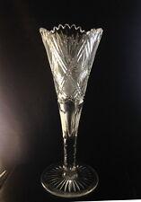 "Val St Lambert 16"" Vintage Clear Trumpet Vase"