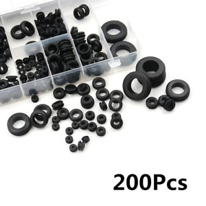 Portable 200X Car Rubber Grommet Set Electrical Wire Gasket Kit w/ Storage Case