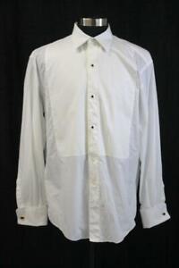 ERMENEGILDO ZEGNA White TUXEDO DRESS SHIRT Formal French Cuff Point Collar 43 17