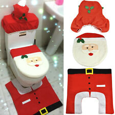 3 Pcs Christmas Decorations Happy Santa Toilet Seat Cover and Rug Bathroom Set~