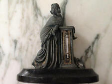 Antique Thermometer Greco-Roman Statue, Black Marble Base, Collectable Figurine