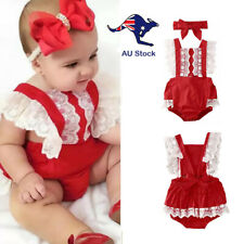 Christmas Baby Toddler Girl Clothes Red White Summer Lace Romper