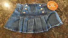 NEW WITH TAGS Build a Bear Jean Skirt with Silver Buttons and Ruffles