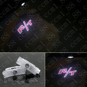 2x Red R/T Logo LED Door Courtesy Projector Light For Dodge Challenger 2013-2019