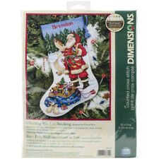 "Dimensions Counted Cross Stitch Kit 16"" LongChecking His List Stocking(14 Count)"