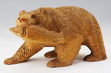 Japanese HOKKAIDO Woodcarving Bear Bites Salmon Statue 34cm 581e03