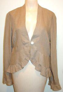 NWT$78 J. JILL Small Light Latte Brown LINEN Jacket Ruffled Hem & Cuffs Peplum