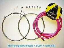 "Kit Freno Guaina Rosa + 2 Cavi Freno + Terminali per bici 26""-28"" Corsa Vintage"