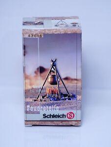 Schleich Toy #42016 Wild West Sioux Indian Camp Fire Fireplace Cauldron Diorama