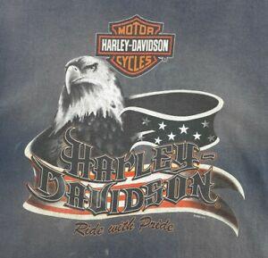 Harley Davidson Work Tshirt Mens XL Hawkeye Coralville Iowa Blue Sleeveless 2006