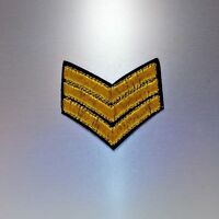 Military Stripes Patch — Iron On Badge Embroidered Motif — Three Stripe Army