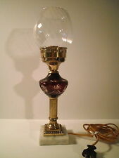 Boston Sandwich Glass Ruby Amethyst Whale Oil Lamp electric