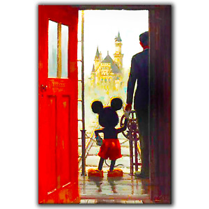 Mickey Mouse and Walt Disney Castle | Canvas Print Wall Art Photo | 3 Sizes