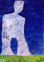 a walk-away man in e9Art ACEO Abstract Figurative Outsider Art Painting Brut