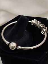 Authentic Pandora Sterling Silver 925 ALE Bangle Bracelet With 4 Charms