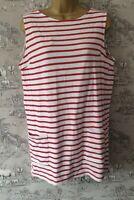 Topshop sz 10 Maternity Tunic Red Stripe Pockets Sleeveless Comfortable Cotton