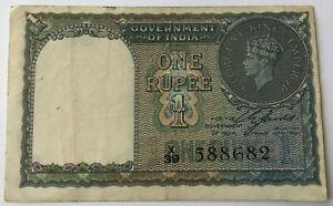 India - 1 Rupee 1940 P#25 'Pinholes' VF Circulated