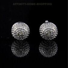 14K White Gold Over Round Cut Natural White Diamond Cluster Stud Earrings